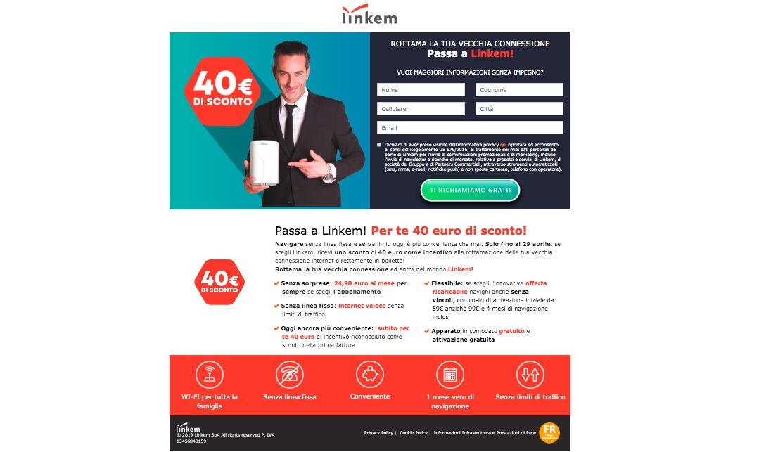 40 euro di incentivo per passare a Linkem rottamando la vecchia connessione
